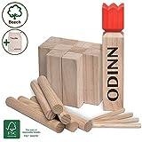 Toyfel Odinn Garten Spielzeug XXL Kubb Spiel – Wikinger Schach Holz aus Premium FSC® Buchenholz mit Stoffbeutel - Indoor & Outdoor Wurfspiel Kinder & Erwachsene