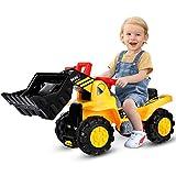COSTWAY Sitzbagger mit eingebautem Ablagefach, Kinderbagger mit 4 Sound-Tasten, Bagger Spielzeug, Sandbagger, Rutscher Bagger, Schaufelbagger, Aufsitzbagger für Kinder ab 3 Jahren