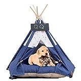 Arkmiido Haustierzelt mit Kissen & Tafel, Tipi-Haus für Hund und Katze, Haustierbett, hundetipi (blau)