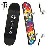 Skateboard Komplettboard, 80 x 20 cm Skate Boards für Anfänger mit ABEC-11 Kugellager, 9-lagigem Ahornholz Longboard für Jungendliche und Erwachsene, Belastung 150 kg