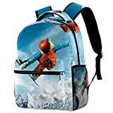 Rucksack Kinder Ski Sonne Cool Elementary Bookbag Teens Schultasche Lässiger Wander-Reise-Tagesrucksack 29.4x20x40cm