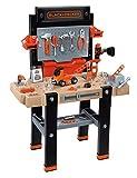 Smoby 360702 – Black+Decker Super Werkbank Center – mit viel Zubehör, mechanischem Akkuschrauber, Auto-Bausatz, Soundeffekten, Lern-App, für Kinder ab 3 Jahren