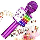SunTop Karaoke Mikrofon, Bluetooth Mikrophon mit LED Dynamische Lichteffekte, Drahtlose Mikrofon Sprecher für Aufnahme/Singen, Rekorder, Kamera, Bluetooth-Lautsprecher
