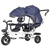 WAOUY Push Kinderwagen, Doppelfahrrad Zwillingskinderwagen, Voll Verstellbarer Sitz Geeignet Für Kleinkinder Und Kinder (Color : Blue)