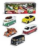 Majorette 212057615 Volkswagen Originals 5er-Geschenkset, Spielzeugautos mit Freilauf aus Metall, zu öffnende Teile, 7,5 cm