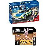 PLAYMOBIL City Action 70067 Porsche 911 Carrera 4S Polizei, ab 4 Jahren + Duracell Plus AAA Alkaline-Batterien, 12er Pack