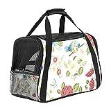 Haustiertasche Blumig bunt Transporttasche für Katzen und Hunde Faltbare Katzentransportbox Drucken Hundebox Atmungsaktiv und sicher 43x26x30 cm
