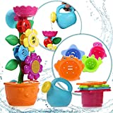 OleOletOy Baby Badespielzeug Set - Süße Blume Wassermühle und 4 STK. Stapelbecher - Kinder Wasserspielzeug mit Saugnapf für die Badewanne