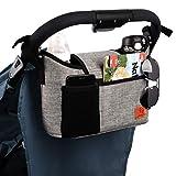 Kinderwagen-Organizer, universelle Kinderwagen-Aufbewahrungstasche mit 2 isolierten Getränkehaltern und Schultergurt, kann als Handtasche für Babyzubehör verwendet werden (grau)