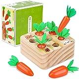 Montessori Holzpuzzle Sortieren Karottenernte Lernspielzeug Baby Motor Skills Spiel Happy Farm Holzspielzeug für Kinder als Geburtstagsgeschenk 1 2 3 Jahre Jungen und Mädchen