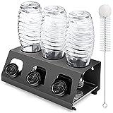 Luxebell Soda Flaschenhalter, 3er abtropfgestell Flaschen aus Edelstahl mit Herausnehmbare Tropfschale flaschenständer für SodaFlasche und Glas Flaschen (schwarz)