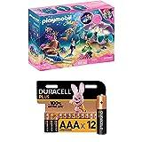 Playmobil Magic 70095 Nachtlicht Perlenmuschel, Ab 4 Jahren + Duracell Plus AAA Alkaline-Batterien, 12er Pack