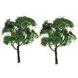 sharprepublic Sammlerstück 2X Green Elm Model Tree 12cm HO 1/75 Maßstab Layout Fahrbahnszene
