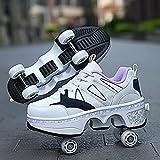 HANHJ VIIPOORollschuhe Frauen Quad Rollschuhe Roller Skates Kinder Rollschuhe Sportschuhe Inline Skates Einstellbare 2-in-1 Mehrzweckschuhe,Black-EU38