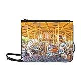 Cross Body Tourist Tasche Karussell Holzpferde Verstellbarer Schultergurt Klassische Modetasche für Frauen Mädchen Damen Reise Umhängetaschen Taschen Clutch