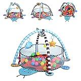 Cangaroo Spielbogen Ladyfly 2 in 1 Krabbeldecke, Bällebad, 30 Bälle, Stofftiere, Farbe:blau