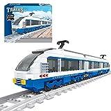 BAXT Technik Zug Eisenbahn Set, 681 Teile Technik Zug Schienen Bausteine City Güterzug City Personenzug ModellBausatz mit Schienen, Klemmbausteine Kompatibel mit Lego City Zug