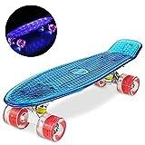 WeSkate Skateboard 22' Polycarbonat Kunstsoff Cruiser Pro Street Skate Board mit LED Blinkt Räder/Deck