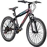 Jugendfahrrad 24 Zoll Mountainbike Fahrrad 24' Geroni Magnum Hardtai MTB Jugend (schwarz/rot/blau, 36 cm)