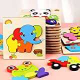 Holzpuzzle 3D Puzzlespiele Tier-Motive, Holzpuzzle Kunterbunte Tierkinder, Puzzlespaß, Holzspielzeug, Kinderpuzzle, Puzzle für Kinder, Lernspielzeug Spiel für Kinder, lustiges Motorikspielzeug