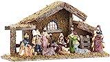 Britesta Krippe: Hochwertige Holz-Weihnachtskrippe, große handbemalte Porzellan-Figuren (Weihnachtsdekorationen)