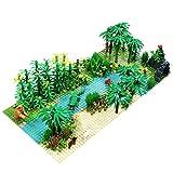 Myste Custom Tropischer Regenwald mit 4 Grundplatte & Zubehör, DIY Dschungel Botanische Abenteuer Bausteinspielzeug mit Tieren & Pflanzen, Kompatibel mit Lego Ideas Baumhaus 21318