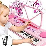 WOSTOO Kinder Keyboard, Multifunktions Digital Piano 61 Tasten Keyboard Set mit Mikrofon Notenständer Für Kinder Geschenk,ideal für Kinder, Musikalisches Spielzeug - Rosa