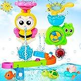 LETOMY Baby Badespielzeug, Badewannenspielzeug mit Schienen, Wandspielzeug Wasserspray & Spin, Duschgeschenk für Kleinkinder, Für Kinder Baby ab 18 Monate+