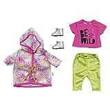 BABY Born 828328 Zapf Creation Puppenkleider - Designerkleidung mit Modeaccessoires - Deluxe Trendy Regenbogen Set