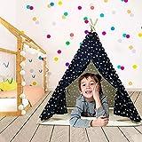 Kinderzelt, Spielzelt für Kinder, Faltbares Tipi Zelt für Jungen und Mädchen mit Plüschmatte Spielhaus für Kinder drinnen und draußen, Indoor/Outdoor, Geschenke für Jungen Mädchen ab 3 4 5 Jahre (03)