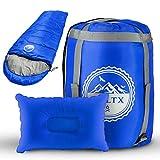 BOLTX - Schlafsack Outdoor | Komfort 10-0 Grad | 210x75cm Blau | 3-4 Jahreszeiten Deckenschlafsack für Kinder und Erwachsene + gratis Reisekissen