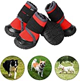 PETLOFT Hundeschuhe, 4pcs Anti Rutsch Pfotenschutz Hund Schuhe mit Einstellbar Verschlussriemen Dog Boots für Kleine Mittlere Große Hunde, Pfotenschutz für Hunde, Einfach Anzuziehen (XXL, Rot)
