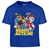 PAW PATROL - Ready for Action Chase und Marshall Kinder Jungen T-Shirt 140 Blau