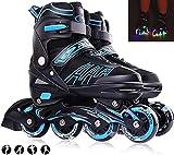 XIUWOUG Inline Skates Für Kinder Und Erwachsene, 8 LED-Blinkräder, 27-44 Einstellbare Schuhgröße, ABEC-7 Lager, Doppelt Schuhkopf Kann die Zehen Besser Schützen,Blau,M 33_36
