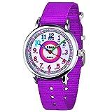 Zeiger Kinderuhr Mädchen Jungen Armbanduhr Nylon Quarz Analog Einfach-Lesen Lernuhr Lila Mädchenuhr Jungen Geschenk Uhr (Lila)
