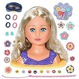 Zapf Creation 825990 BABY born Sister Styling Head - Schminkkopf, Frisierkopf mit hochwertigen langen blonden Haaren, Haargummis, Klammern, Bürste, Haarband, Schminke für Puppe und Kinderhaut
