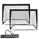 COSTWAY 2er Set Fußballtor klappbar, Fußball-Tor mit Montagezubehör und Tragetasche, Fußballnetz für Erwachsene und Kinder