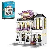 KCGNBQING Blumenhaus Modularer Gebäude Set mit Licht 1914 Stück Europa Flower House Bausteine Set Straßenansicht Gebäude Set Kompatibel mit Lego Creator Zusammenbau von Lego-Bausteinen