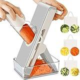 Gemüseschneider - Multifunktion Gemüsehobel Küchegeräte mit Auffangbecken & Reinigungsbürste, Zwiebelschneider für Kartoffel Tomaten Zwiebel Salat Obst Aubergine & Gurke