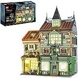 Zauberstraße Modular Bausteine Haus Modell, City Street View-Serie,Magic Buchhandlung mit Licht, Kompatibel mit Lego Kollektion modularer Gebäude - 3468 Teilen A,58 * 12 * 46CM