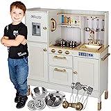 Kinderplay Große Kinderküche, Spielküche Holz für Kinder – Zwei Höhenstufen 89 cm und 103 cm, LED-Beleuchtung, Zubehör, Kinderküche mit Licht und Sound, GS0060