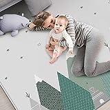 TONGJI Baby Spielmatte, Doppelseitig Faltbar XPE-Schaum Krabbeldecke Rutschfest Wasserdicht Spielteppich Gym Spielmatte für Baby, 200 x 180 cm