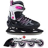 Cox Swain 2 in 1 Kinder Skates-/Schlittschuh -Joy- LED Leuchtrollen, ABEC 7 Carbon Lager, Colour: Black Pink, Size: XS (29-32)