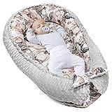 warmes Nestchen Baby 90x50 cm - Kuschelnest Neugeborene Nestchen Winter/Herbst Kokon Babynest Hellgrau Minky mit Wilde Rose Motiv