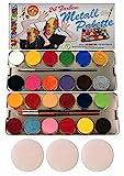 Eulenspiegel 224007 - Profi-Aqua Schminke, 24 Farben, 3 Profi-Pinsel, 3 Schwämme, Metall-Palette