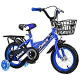 HYDL Kinderfahrrad für Jungen MäDchen, 12 14 16 Zoll - mit Stützrädern, Puppensitz und Fahrradkorb - ab 2-7 Jahre - Sattel und Lenker einstellbar,Blau,14in