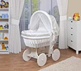 WALDIN Baby Stubenwagen-Set mit Ausstattung,XXL,Bollerwagen,komplett,44 Modelle wählbar,Gestell/Räder weiß lackiert,Stoffe weiß
