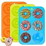Silikon Donuts Backform, 3er Pack Donut Maker Antihaftbeschichtet, 6 Hohlraum Flexible Silikonform zum Backen von Kuchen Donuts Cupcakes Keks Bagels