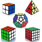 Maomaoyu Zauberwürfel Speedcube Set, Puzzle Cube Set 2x2+3x3+4x4+Pyraminx+Megaminx Zauberwürfel,Speedcube-Bundle(Glatte Aufkleber)