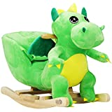 Deuba Schaukeldino | Schaukeltier Plüsch Schaukel Wippe Pferd Kinder Baby Spielzeug | Sound-Geräusche | inkl. Sicherheitsgurt | Balancetraining | besonders weich
